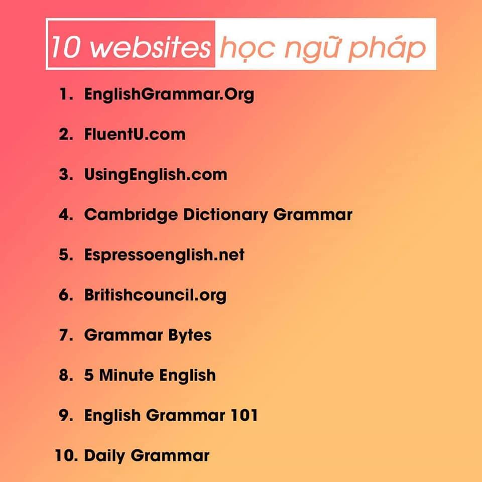 website học ngữ pháp tiếng anh